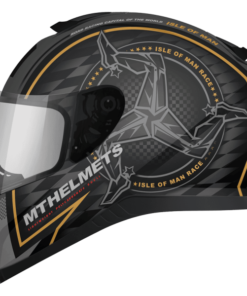 CASCO INTEGRAL MT THUNDER 3sv ISLE OF MAN BLANCO ORO MATE